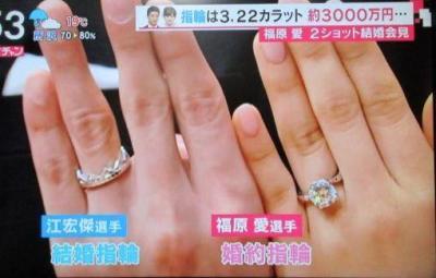 凄い大きさの婚約指輪と結婚指輪3.22カラット!